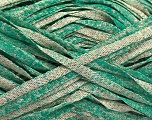 Fiber Content 82% Viscose, 18% Polyester, Brand Ice Yarns, Emerald Green, Beige, Yarn Thickness 5 Bulky  Chunky, Craft, Rug, fnt2-55034