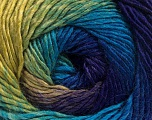 Fiber Content 50% Wool, 50% Acrylic, Turquoise, Purple, Brand Ice Yarns, Green Shades, fnt2-55354