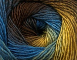 Fiber Content 50% Wool, 50% Acrylic, Brand Ice Yarns, Gold, Brown, Blue, fnt2-55457