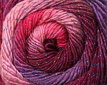 Fiber Content 48% Acrylic, 48% Wool, 4% Metallic Lurex, Pink Shades, Maroon, Lilac, Brand ICE, Yarn Thickness 2 Fine  Sport, Baby, fnt2-55568