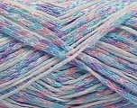 Fiber indhold 65% Viskose, 35% Polyamid, White, Light Turquoise, Light Lilac, Brand Ice Yarns, fnt2-55833