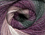 Fiber Content 95% Acrylic, 5% Lurex, White, Purple, Lilac, Brand Ice Yarns, Grey Shades, Yarn Thickness 3 Light  DK, Light, Worsted, fnt2-56089