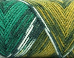 Fiber Content 50% Wool, 50% Acrylic, Yellow, White, Brand ICE, Green Shades, Yarn Thickness 3 Light  DK, Light, Worsted, fnt2-56451