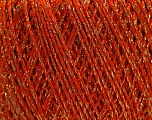 Fiber Content 85% Viscose, 25% Metallic Lurex, Orange, Brand ICE, Gold, Yarn Thickness 3 Light  DK, Light, Worsted, fnt2-57040