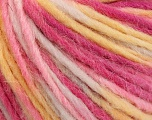 Fiber Content 50% Wool, 50% Acrylic, Yellow, White, Pink Shades, Brand ICE, Yarn Thickness 4 Medium  Worsted, Afghan, Aran, fnt2-57241