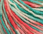 Fiber Content 60% Acrylic, 40% Wool, White, Salmon, Mint Green, Brand ICE, Yarn Thickness 5 Bulky  Chunky, Craft, Rug, fnt2-57244