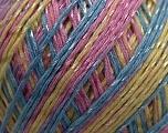Fiber Content 70% Mercerised Cotton, 30% Viscose, Yellow, Pink, Brand Kuka Yarns, Blue, Yarn Thickness 2 Fine  Sport, Baby, fnt2-16817