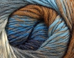 A self-striping yarn, which gets its design when knitted Fiber Content 100% Wool, Brand KUKA, Grey, Brown, Blue, Yarn Thickness 4 Medium  Worsted, Afghan, Aran, fnt2-16875