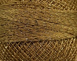 Fiber Content 70% Polyester, 30% Metallic Lurex, Brand YarnArt, Light Brown, Gold, Yarn Thickness 0 Lace  Fingering Crochet Thread, fnt2-17352