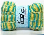 A new scarf yarn. It looks like a regular tape, but when knitted it gives you a frilly pattern. Excellent for scarfs and trims. Fiber Content 95% Acrylic, 5% Polyester, Yellow, Turquoise, Brand Ice Yarns, Green, Yarn Thickness 6 SuperBulky  Bulky, Roving, fnt2-22906