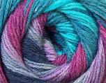 Fiber Content 60% Acrylic, 40% Merino Wool, Turquoise, Purple, Lilac, Brand Ice Yarns, Fuchsia, Yarn Thickness 2 Fine  Sport, Baby, fnt2-23436