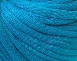 This is a tube-like yarn with soft cotton fleece filled inside. Fiber Content 70% Cotton, 30% Polyester, Turquoise, Brand Ice Yarns, Yarn Thickness 5 Bulky  Chunky, Craft, Rug, fnt2-32512
