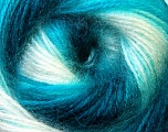 Fiber Content 75% Acrylic, 25% Angora, White, Turquoise, Brand Ice Yarns, Yarn Thickness 2 Fine  Sport, Baby, fnt2-33244