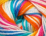 Fiber Content 100% Premium Acrylic, Yellow, White, Turquoise, Pink, Orange, Brand Ice Yarns, Blue, Yarn Thickness 3 Light  DK, Light, Worsted, fnt2-33400