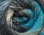 A self-striping yarn, which gets its design when knitted Fiber Content 100% Wool, Turquoise, Brand KUKA, Grey Shades, Yarn Thickness 4 Medium  Worsted, Afghan, Aran, fnt2-34500