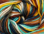 Fiber Content 100% Wool, Yellow, Turquoise, Khaki, Brand Ice Yarns, Brown, Blue, Yarn Thickness 3 Light  DK, Light, Worsted, fnt2-34731