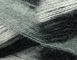 Fiber Content 70% Mohair, 30% Acrylic, White, Brand ICE, Grey, Black, Yarn Thickness 3 Light  DK, Light, Worsted, fnt2-35062