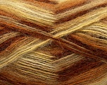 Fiber Content 70% Angora, 30% Acrylic, Yellow, White, Brand Ice Yarns, Brown Shades, Yarn Thickness 2 Fine  Sport, Baby, fnt2-35080
