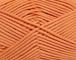 This is a tube-like yarn with soft fleece inside. Fiber Content 73% Viscose, 27% Polyester, Light Orange, Brand ICE, Yarn Thickness 5 Bulky  Chunky, Craft, Rug, fnt2-35604