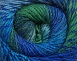 A self-striping yarn, which gets its design when knitted Fiber Content 100% Wool, Turquoise, Brand KUKA, Grey, Green, Blue, Yarn Thickness 4 Medium  Worsted, Afghan, Aran, fnt2-41085
