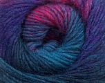 A self-striping yarn, which gets its design when knitted Fiber Content 100% Wool, Turquoise, Purple, Brand KUKA, Fuchsia, Dark Grey, Yarn Thickness 4 Medium  Worsted, Afghan, Aran, fnt2-41086