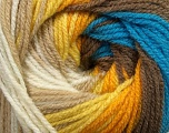 Fiber Content 100% Premium Acrylic, Yellow, White, Orange, Brand ICE, Camel, Brown, Blue, Yarn Thickness 3 Light  DK, Light, Worsted, fnt2-42196