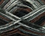 Easy knit bulky yarn. Note that this is a self-stripping yarn. Please see package photos for the color change. Machine washable and dryable. Fiber Content 100% Acrylic, Brand Ice Yarns, Grey, Brown, Black, Yarn Thickness 5 Bulky  Chunky, Craft, Rug, fnt2-42545