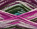 Easy knit bulky yarn. Note that this is a self-stripping yarn. Please see package photos for the color change. Machine washable and dryable. Fiber Content 100% Acrylic, White, Teal, Purple, Lavender, Brand Ice Yarns, Green, Yarn Thickness 5 Bulky  Chunky, Craft, Rug, fnt2-42552