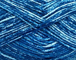 Strong pure cotton yarn in beautiful colours, reminiscent of bleached denim. Machine washable and dryable. Fiber Content 100% Cotton, White, Brand Ice Yarns, Blue, Yarn Thickness 3 Light  DK, Light, Worsted, fnt2-42573