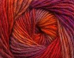 Fiber Content 70% Dralon, 30% Wool, Purple Shades, Orange Shades, Brand Ice Yarns, Yarn Thickness 4 Medium  Worsted, Afghan, Aran, fnt2-42702