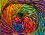 Fiber Content 70% Dralon, 30% Wool, Turquoise, Orange, Neon Yellow, Neon Green, Lilac, Brand Ice Yarns, Yarn Thickness 4 Medium  Worsted, Afghan, Aran, fnt2-42703