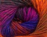 Fiber Content 70% Dralon, 30% Wool, Purple, Orange, Brand Ice Yarns, Fuchsia, Copper, Yarn Thickness 4 Medium  Worsted, Afghan, Aran, fnt2-42706
