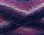Fiber Content 90% Acrylic, 10% Polyamide, Purple Shades, Pink, Navy, Brand Ice Yarns, Yarn Thickness 4 Medium  Worsted, Afghan, Aran, fnt2-42757