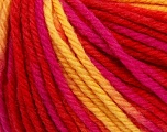 SUPERWASH WOOL BULKY is a bulky weight 100% superwash wool yarn. Perfect stitch definition, and a soft-but-sturdy finished fabric. Projects knit and crocheted in SUPERWASH WOOL BULKY are machine washable! Lay flat to dry. Fiber Content 100% Superwash Wool, Yellow, Red, Brand ICE, Fuchsia, Yarn Thickness 5 Bulky  Chunky, Craft, Rug, fnt2-42850