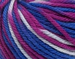 SUPERWASH WOOL BULKY is a bulky weight 100% superwash wool yarn. Perfect stitch definition, and a soft-but-sturdy finished fabric. Projects knit and crocheted in SUPERWASH WOOL BULKY are machine washable! Lay flat to dry. Fiber Content 100% Superwash Wool, Purple, Brand Ice Yarns, Blue Shades, Yarn Thickness 5 Bulky  Chunky, Craft, Rug, fnt2-42857