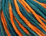 SUPERWASH WOOL BULKY is a bulky weight 100% superwash wool yarn. Perfect stitch definition, and a soft-but-sturdy finished fabric. Projects knit and crocheted in SUPERWASH WOOL BULKY are machine washable! Lay flat to dry. Fiber Content 100% Superwash Wool, Teal, Orange, Brand Ice Yarns, Yarn Thickness 5 Bulky  Chunky, Craft, Rug, fnt2-42858