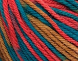SUPERWASH WOOL BULKY is a bulky weight 100% superwash wool yarn. Perfect stitch definition, and a soft-but-sturdy finished fabric. Projects knit and crocheted in SUPERWASH WOOL BULKY are machine washable! Lay flat to dry. Fiber Content 100% Superwash Wool, Teal, Salmon, Light Brown, Brand Ice Yarns, Yarn Thickness 5 Bulky  Chunky, Craft, Rug, fnt2-42859