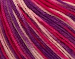 SUPERWASH WOOL is a DK weight 100% superwash wool yarn. Perfect stitch definition, and a soft-but-sturdy finished fabric. Projects knit and crocheted in SUPERWASH WOOL are machine washable! Lay flat to dry. Fiber Content 100% Superwash Wool, Purple, Pink Shades, Brand Ice Yarns, Yarn Thickness 3 Light  DK, Light, Worsted, fnt2-42952