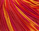 SUPERWASH WOOL is a DK weight 100% superwash wool yarn. Perfect stitch definition, and a soft-but-sturdy finished fabric. Projects knit and crocheted in SUPERWASH WOOL are machine washable! Lay flat to dry. Fiber Content 100% Superwash Wool, Yellow, Salmon, Orange, Brand Ice Yarns, Fuchsia, Yarn Thickness 3 Light  DK, Light, Worsted, fnt2-42961