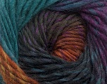 Fiber Content 100% Wool, Teal, Purple, Brand Ice Yarns, Brown, Black, Yarn Thickness 4 Medium  Worsted, Afghan, Aran, fnt2-43064