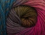 Fiber Content 100% Wool, Teal, Pink Shades, Maroon, Brand Ice Yarns, Green, Yarn Thickness 4 Medium  Worsted, Afghan, Aran, fnt2-43068