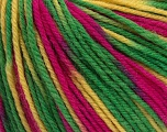 SUPERWASH WOOL is a DK weight 100% superwash wool yarn. Perfect stitch definition, and a soft-but-sturdy finished fabric. Projects knit and crocheted in SUPERWASH WOOL are machine washable! Lay flat to dry. Fiber Content 100% Superwash Wool, Yelow, Brand ICE, Green, Fuchsia, Yarn Thickness 3 Light  DK, Light, Worsted, fnt2-43818