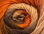 Fiber Content 50% Acrylic, 50% Wool, Orange, Brand ICE, Gold, Camel, Brown, Yarn Thickness 2 Fine  Sport, Baby, fnt2-45314