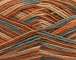 Fiber Content 75% Superwash Wool, 25% Polyamide, Light Orange, Light Blue, Brand Ice Yarns, Camel, Cafe Latte, Yarn Thickness 1 SuperFine  Sock, Fingering, Baby, fnt2-45334
