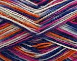 Fiber Content 75% Superwash Wool, 25% Polyamide, White, Pink, Orange, Brand Ice Yarns, Blue, Yarn Thickness 1 SuperFine  Sock, Fingering, Baby, fnt2-45336