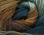 Fiber Content 40% Wool, 30% Acrylic, 30% Mohair, Teal, Light Blue, Brand Ice Yarns, Brown Shades, Yarn Thickness 3 Light  DK, Light, Worsted, fnt2-45799