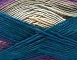 This is a self-striping yarn. Please see package photo for the color combination. Fiber Content 100% Acrylic, Teal, Purple, Brand Ice Yarns, Grey, Cafe Latte, Brown, Yarn Thickness 3 Light  DK, Light, Worsted, fnt2-46812