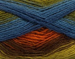 This is a self-striping yarn. Please see package photo for the color combination. Fiber Content 100% Acrylic, Brand Ice Yarns, Green Shades, Copper, Brown Shades, Blue, Yarn Thickness 3 Light  DK, Light, Worsted, fnt2-46813