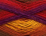 This is a self-striping yarn. Please see package photo for the color combination. Fiber Content 100% Acrylic, Red, Purple, Brand Ice Yarns, Gold, Copper, Brown, Yarn Thickness 3 Light  DK, Light, Worsted, fnt2-46814