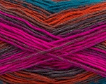 This is a self-striping yarn. Please see package photo for the color combination. Fiber Content 100% Acrylic, Turquoise, Purple, Brand Ice Yarns, Green, Fuchsia, Copper, Brown, Yarn Thickness 3 Light  DK, Light, Worsted, fnt2-46818